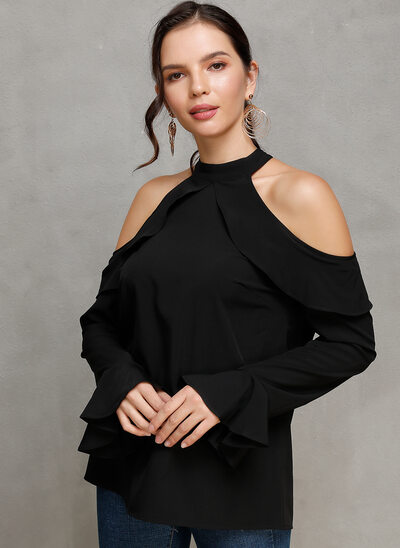 Solid Long Sleeves Flare Sleeve Polyester Cold Shoulder Knit Blouses
