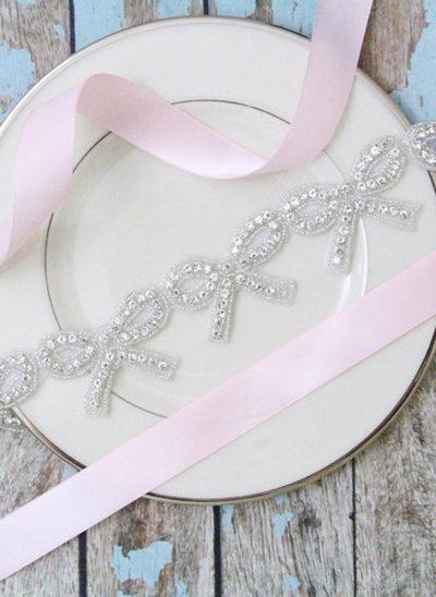 Hermoso/Niña De Las Flores Satén Fajas con Diamantes de imitación