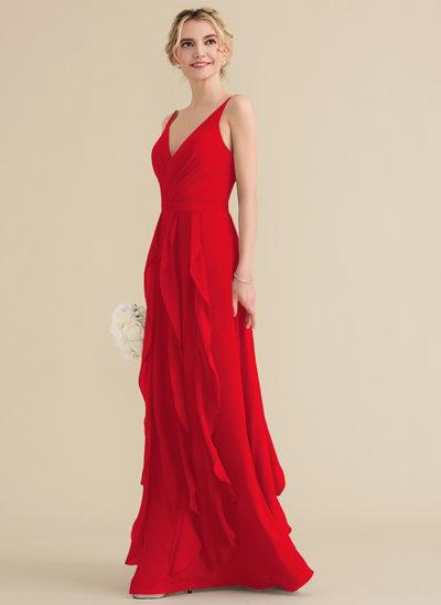 A-Line/Princess V-neck Floor-Length Chiffon Prom Dresses With Cascading Ruffles