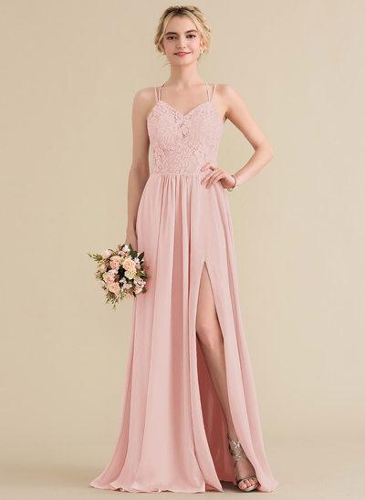 Çan/Prenses Sweetheart Uzun Etekli Şifon Dantel Mezuniyet Elbisesi Ile Bölünmüş Ön
