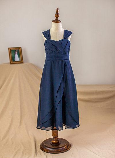 Robe Empire Longueur mollet Robes à Fleurs pour Filles - Mousseline Sans manches Bretelles avec Plissée