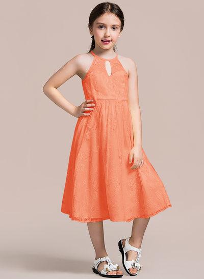 Vestidos princesa/ Formato A Decote redondo Comprimento médio Renda Vestido de daminha júnior