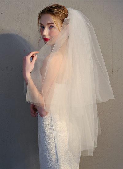 Twee-rij Gesneden Rand Vingertop Bruids Sluiers