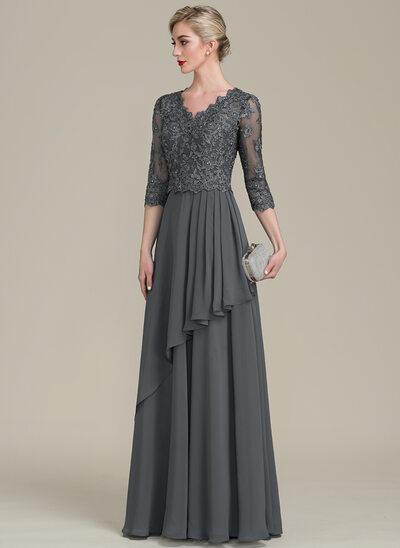 Vestidos princesa/ Formato A Decote V Longos Tecido de seda Renda Vestido para a mãe da noiva com Beading lantejoulas Babados em cascata
