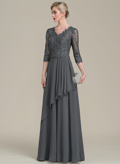 473a1747ba72 A-Line/Princess V-neck Floor-Length Chiffon Lace Mother of the