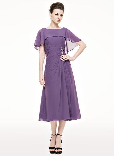 Vestidos princesa/ Formato A Decote redondo Comprimento médio Tecido de seda Vestido para a mãe da noiva com Pregueado Beading lantejoulas