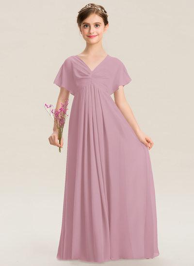 С завышенной талией V-образный Длина до пола шифон Платье Юнных Подружек Невесты с Рябь