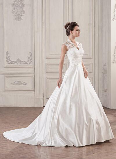 De baile Decote V Cauda de sereia Cetim Renda Vestido de noiva com Pregueado