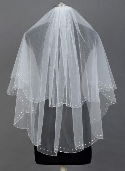 2 couches Voile de mariée longueur coude avec Bord orné de perle