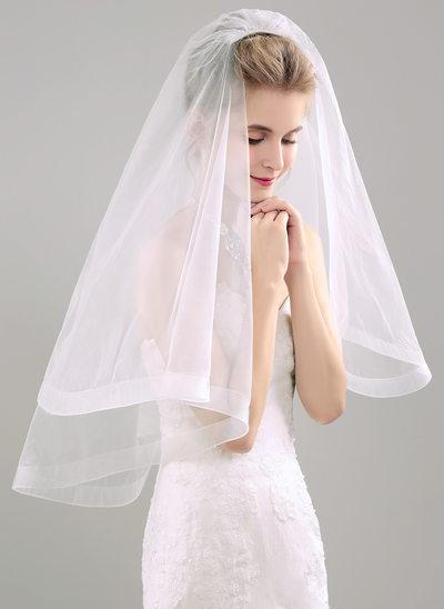 Zweischichtig Ellenbogen Braut Schleier mit Band