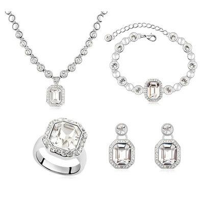 Señoras' Aleación/Platino plateado con Redondo Cristal austriaco Sistemas de la joyería Ella/La dama de honor