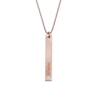 Personalized 18k Rose Gold Plated Name Necklace Bar Necklace Engraved Necklace