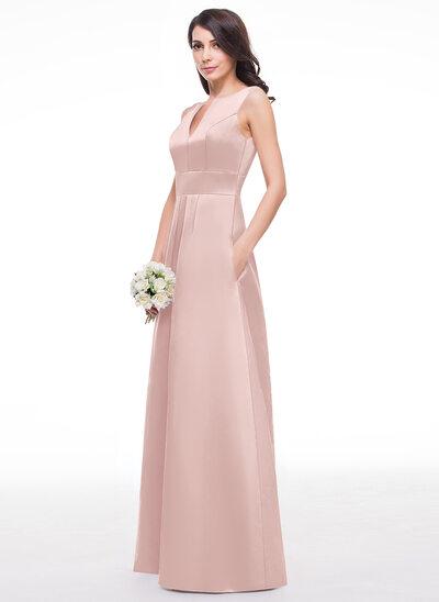 A-Line/Princess V-neck Floor-Length Satin Bridesmaid Dress With Ruffle