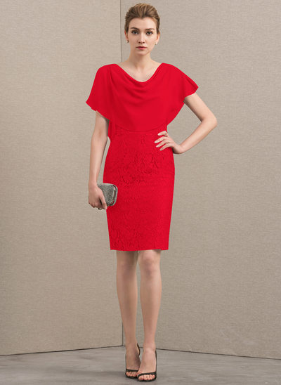 Sheath/Column Cowl Neck Knee-Length Chiffon Lace Mother of the Bride Dress With Cascading Ruffles