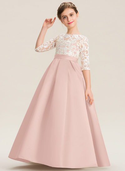 De Baile/Princesa Decote redondo Longos Cetim Renda Vestido de daminha júnior
