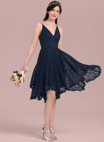 A-Linie/Princess-Linie V-Ausschnitt Asymmetrisch Lace Brautjungfernkleid