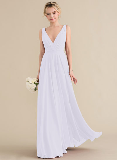 Corte A Decote V Longos Tecido de seda Vestido de baile com Pregueado