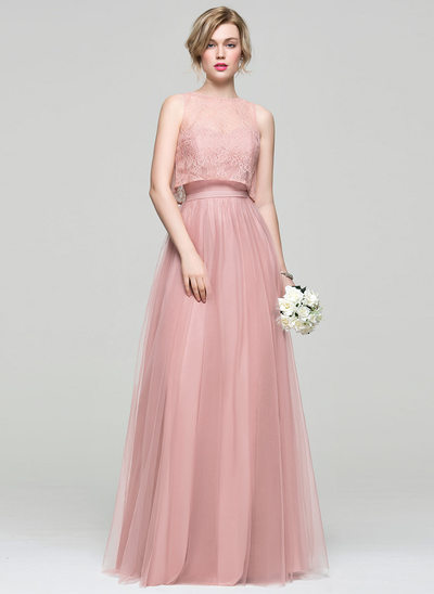 A-Line/Princess Sweetheart Floor-Length Tulle Prom Dresses