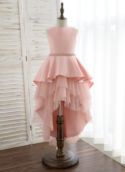 55d32ee6c60 Ball-Gown Princess Asymmetrical Flower Girl Dress - Satin Tulle Sleeveless  Scoop Neck