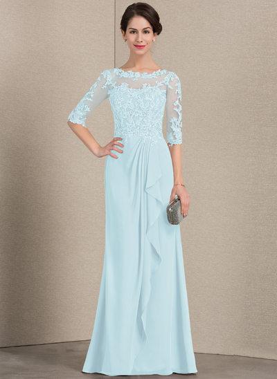Vestidos princesa/ Formato A Decote redondo Longos Tecido de seda Renda Vestido para a mãe da noiva com Babados em cascata