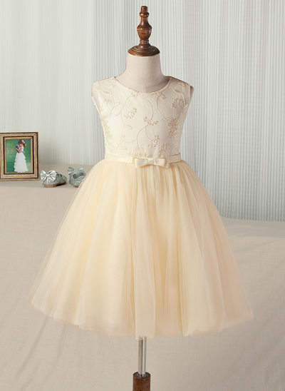 A-Line/Princess Tea-length Flower Girl Dress - Satin/Tulle Sleeveless