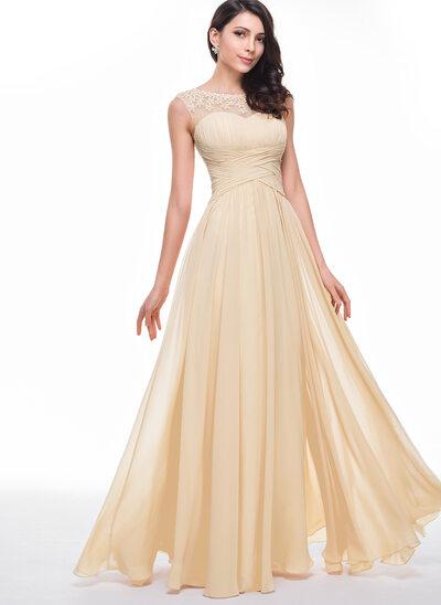 Corte A Decote redondo Longos Tecido de seda Vestido de baile com Pregueado Beading fecho de correr