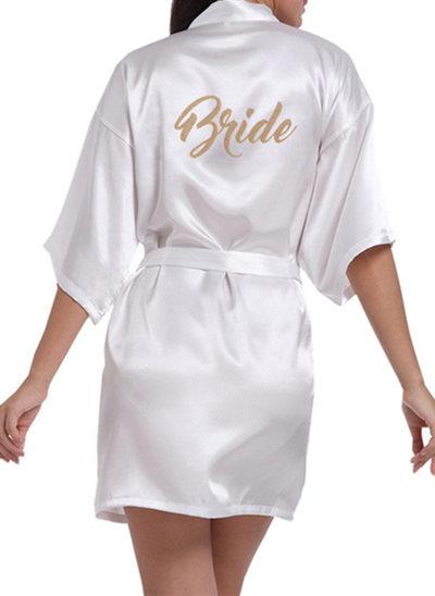 Personalized Satin Bride Bridesmaid Glitter Print Robes