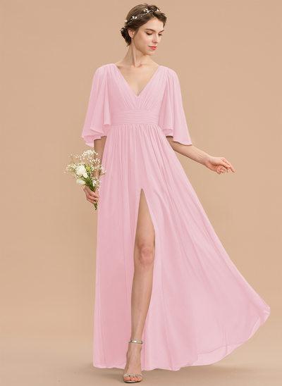 Corte A Decote V Longos Tecido de seda Vestido de madrinha com Pregueado Curvado Frente aberta