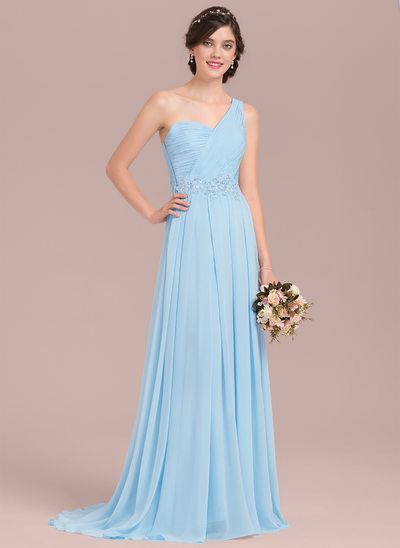 A-linje One-Shoulder Sweep/Brush train Chiffon Brudepigekjole med Applikationer Lace pailletter