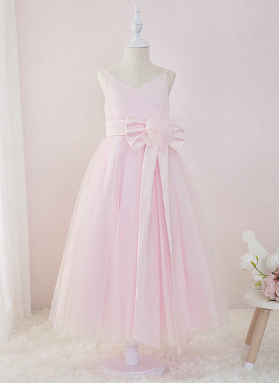 A-Line Ankle-length Flower Girl Dress - Satin/Tulle Sleeveless V-neck With Flower(s)/Bow(s)/Pleated