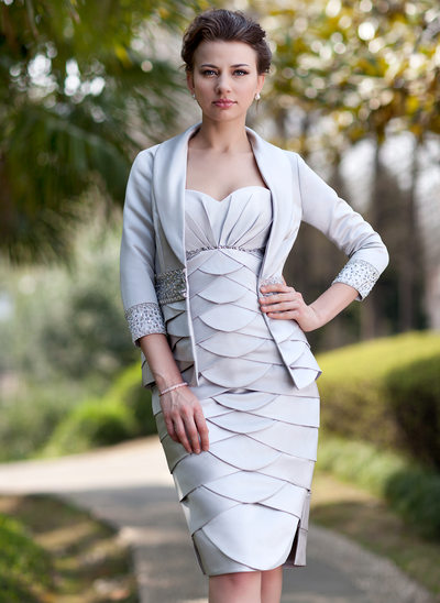 Kılıf Kalp Kesimli Diz Hizası Satin Gelin Annesi Elbisesi