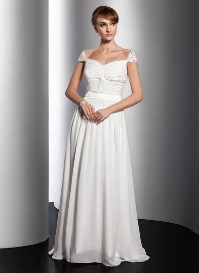 Çan/Prenses V yaka Kuyruklu Şifon Tatil Elbisesi Ile Büzgü boncuklu kısım