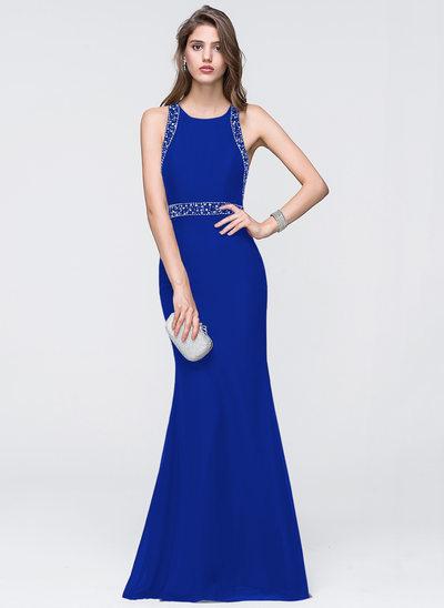 Denizkızı Yuvarlak Yaka Uzun Etekli Şifon Mezuniyet Elbisesi Ile boncuklu kısım Payetler