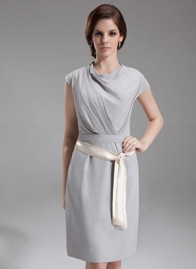 Sheath/Column Cowl Neck Knee-Length Chiffon Kate Middleton Style With Ruffle Sash