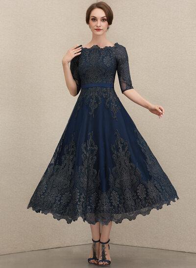Corte A Decote redondo Comprimento médio Renda Vestido para a mãe da noiva