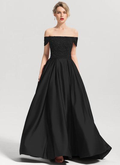 Платье для Балла Выкл-в-плечо Sweep/Щетка поезд Атлас Платье Для Выпускного Вечера с развальцовка блестки