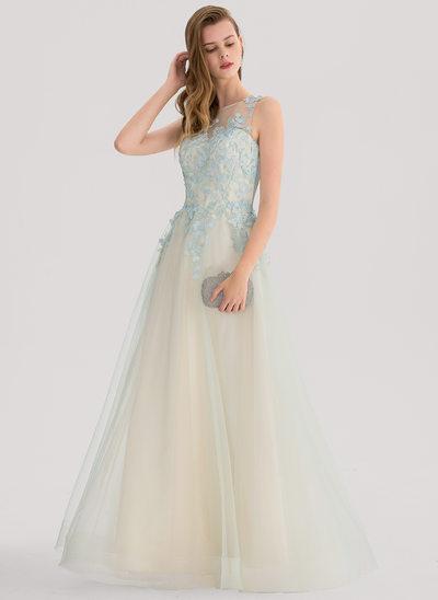 Vestidos princesa/ Formato A Decote redondo Longos Tule Vestido de baile
