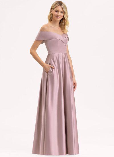 A-Line Off-the-Shoulder Floor-Length Satin Evening Dress With Pockets