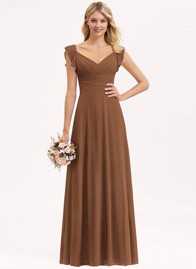 Empire V-neck Floor-Length Chiffon Bridesmaid Dress With Cascading Ruffles