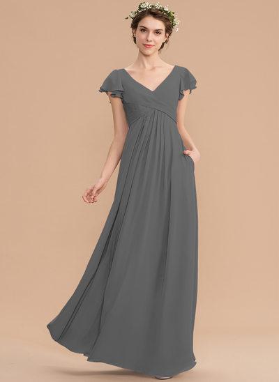 A-Linjainen V-kaula-aukko Lattiaa hipova pituus Sifonki Morsiusneitojen mekko jossa Laskeutuva röyhelö Taskut