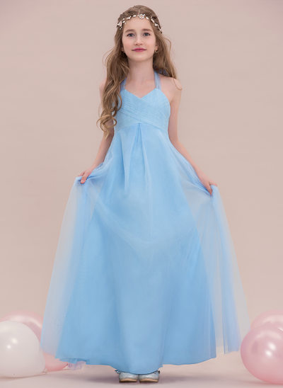 Empire Halter Floor-Length Tulle Junior Bridesmaid Dress With Ruffle