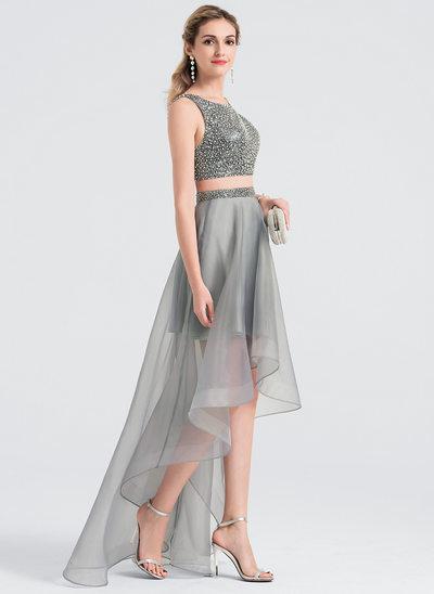Corte A/Princesa Escote redondo Asimétrico Organdí Vestido de baile de promoción