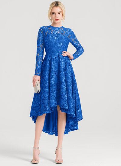 A-Line/Princess Scoop Neck Asymmetrical Lace Cocktail Dress
