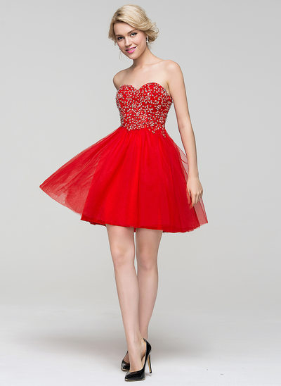 A-Line/Princess Sweetheart Short/Mini Tulle Homecoming Dress With Beading