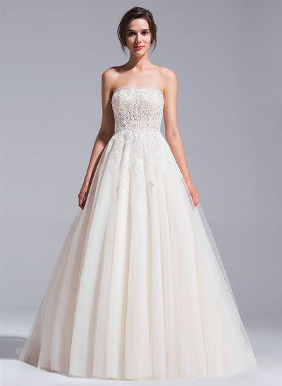 De baile Sem Alças Comboios Catedral Tule Vestido de noiva com Bordado Apliques de Renda Lantejoulas