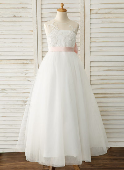 83d0eaa4b05 A-Line Floor-length Flower Girl Dress - Satin Tulle Lace Sleeveless