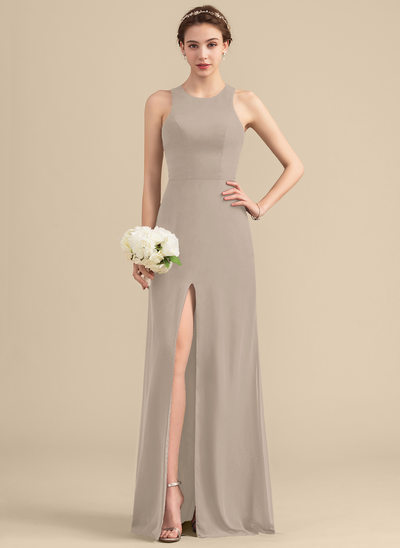 A-Line/Princess Scoop Neck Floor-Length Chiffon Bridesmaid Dress With Split Front