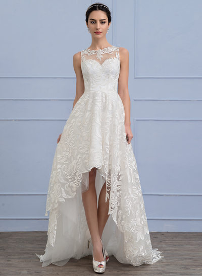 A-Line/Princess Scoop Neck Asymmetrical Lace Wedding Dress