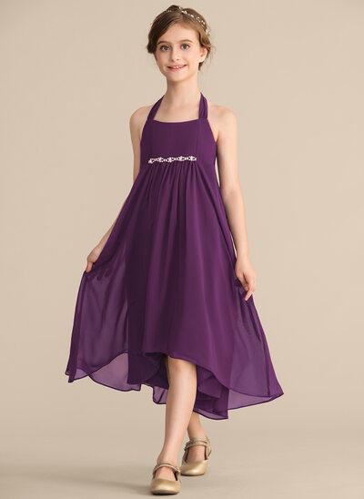 Empire-tyylinen Niskalenkillä Epäsymmetrinen Sifonki Nuorten morsiusneito mekko jossa Helmikoristelu Rusetti
