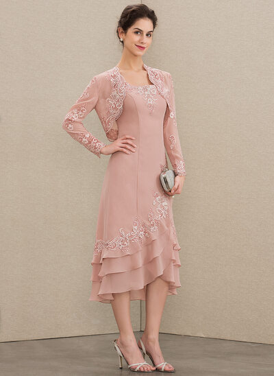 A-Line Square Neckline Asymmetrical Chiffon Mother of the Bride Dress With Appliques Lace Cascading Ruffles